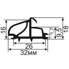 АЛ-06-32 Уплотнитель для алюминиевых окон с пазом 26мм
