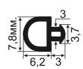 АЛ-08-06 Уплотнитель для алюминиевых профилей в паз 3мм (TPE SEBS)