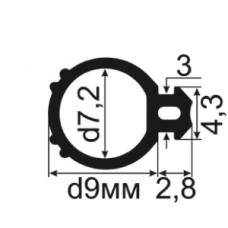 АЛ-10-08 Уплотнитель для алюминиевых конструкций с пазом 3мм (TPE SEBS)
