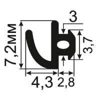 АЛ-11-06 Уменьшенный уплотнитель для притвора алюминиевого окна с пазом шириной 3 мм.