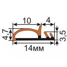 ОД-16-10 Соэкструзионный уплотнитель для межкомнатных дверей (двухкомпонентный)