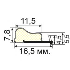 УК-03-08 Пазовый уплотнитель Q-Lon для притвора межкомнатных дверей с зазорами от 4 мм. до 7 мм.