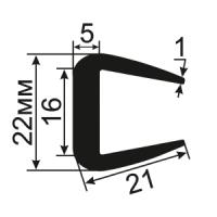 УС-12-16 П-образный уплотнитель для стекол толщиной 16-17мм.