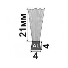 H-21x4x4 Щеточный уплотнитель (полосовая щетка) для входных дверей и ворот
