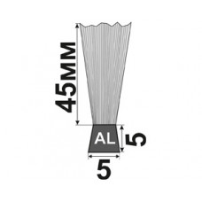 H-45x5x5 Щеточный уплотнитель (полосовая щетка) для входных дверей и ворот
