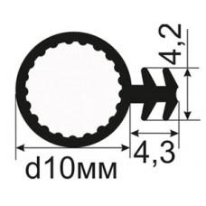 ОД-04-10 Резиновый (TPE) уплотнитель для деревянных дверей и окон в паз под 45 градусов