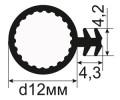 ОД-04-12 Пазовый уплотнитель для деревянных окон и дверей из термоэластопласта (SEBS) в паз под 45 градусов