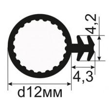 ОД-04-12 Пазовый уплотнитель диаметром 12мм предназначен для фиксации в пазу под 45 градусов