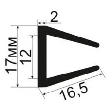 Резиновый П - образный уплотнитель для стекла 12мм