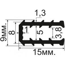 УС-02-04 П-образный Рифлёный (TPE) уплотнитетель для стекла толщиной 4-5мм