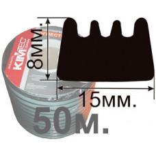 Огнестойкий уплотнитель E-профиль 15х8мм. (оптовая упаковка 50м.) Самоклеющийся резиновый (EPDM)