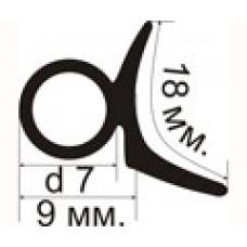 ДМ-01-07 Резиновый (TPE) уплотнитель для металлических дверей имеющих G-образный профиль крепления