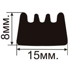 Огнестойкий уплотнитель E-профиль (15х8мм.) Самоклеющийся резиновый (EPDM)