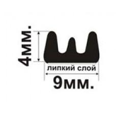 E-профиль (9х4мм.) Самоклеющийся резиновый (EPDM) уплотнитель для межкомнатных дверей и окон