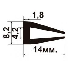 УС-01-04  П-образный Резиновый (TPE) уплотнитель для стекла толщиной 4-5мм